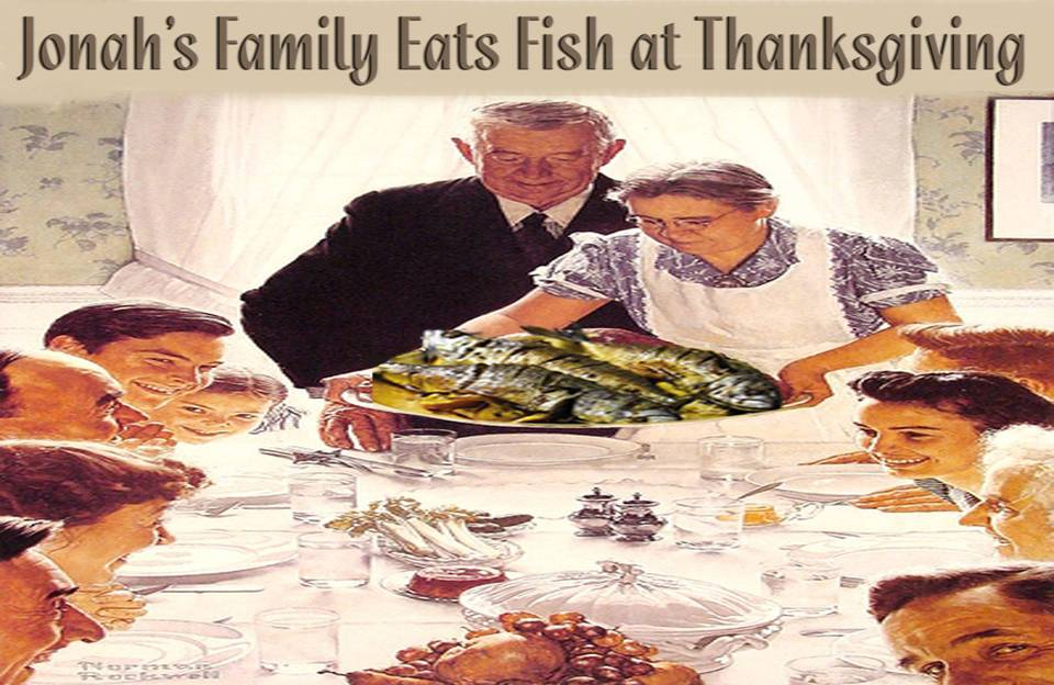 Jonahs family eats fish at Thanksgiving