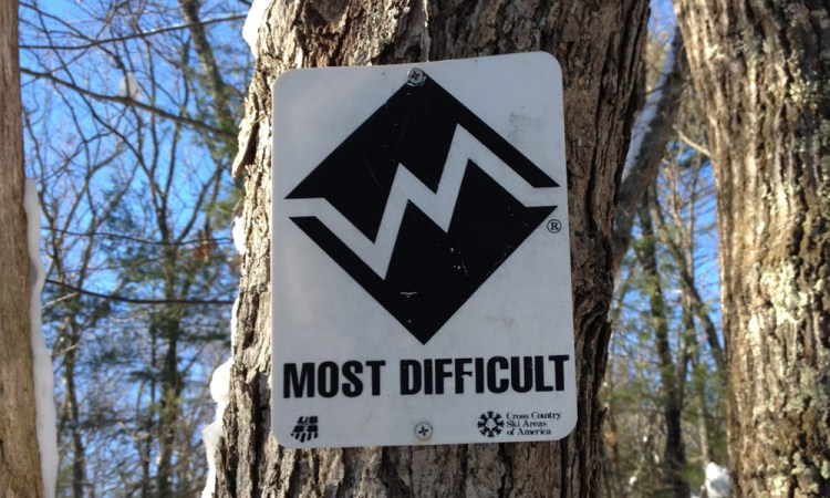 Most Difficult Hiking Sign on Tree