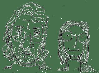Drawing of Phillip and Jenny by Jonathan Adams, circa 2007.