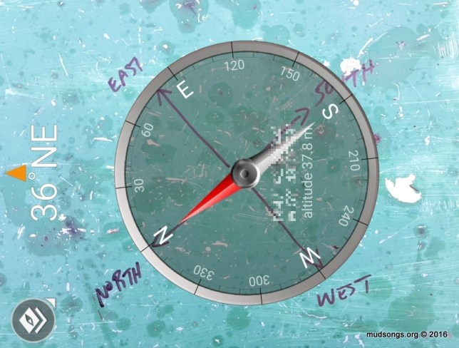 Compass view through my Adnoid compass app. (Dec. 08, 2016.)
