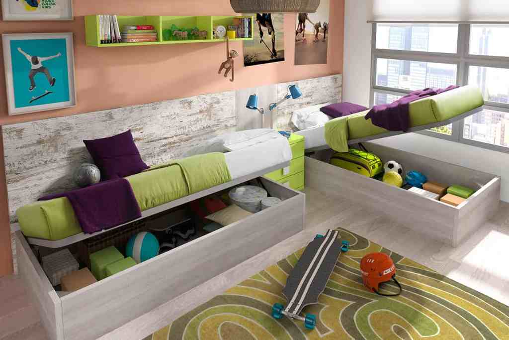Habitación juvenil doble con cajonera bajo las camas