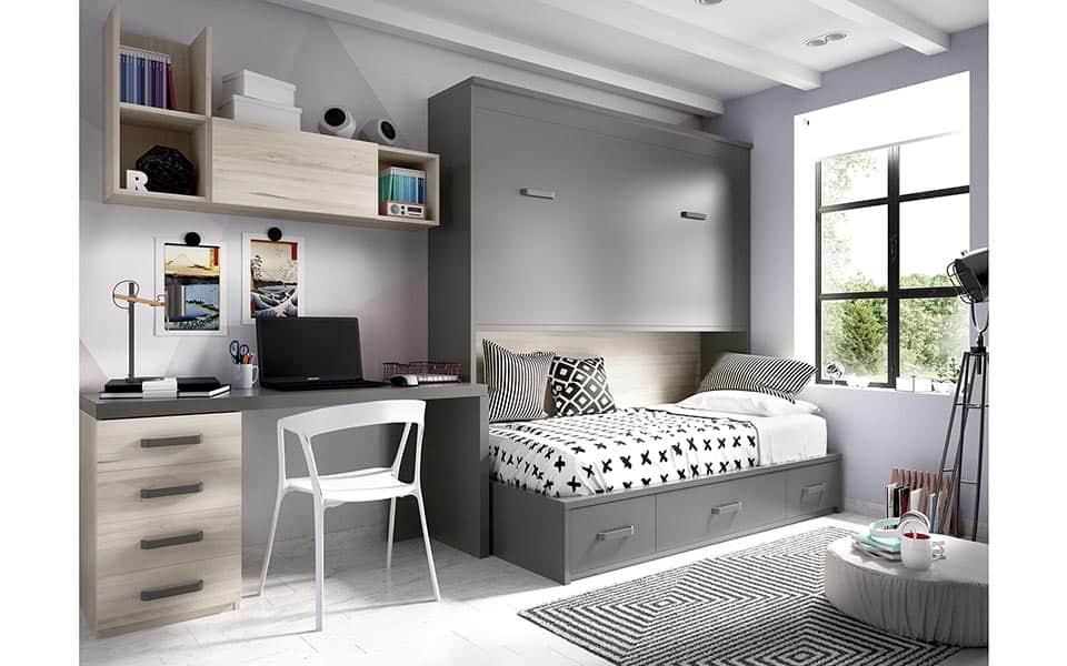 Habitación juvenil con cama inferior block y superior abatible cerrada