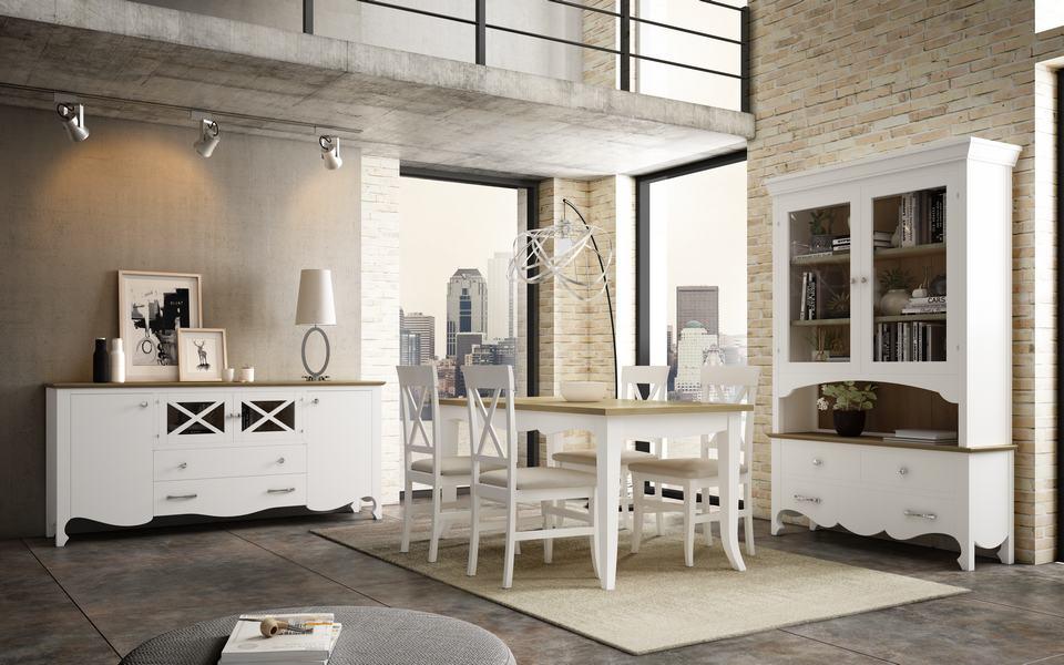 Mesas y sillas para comedor en blanco