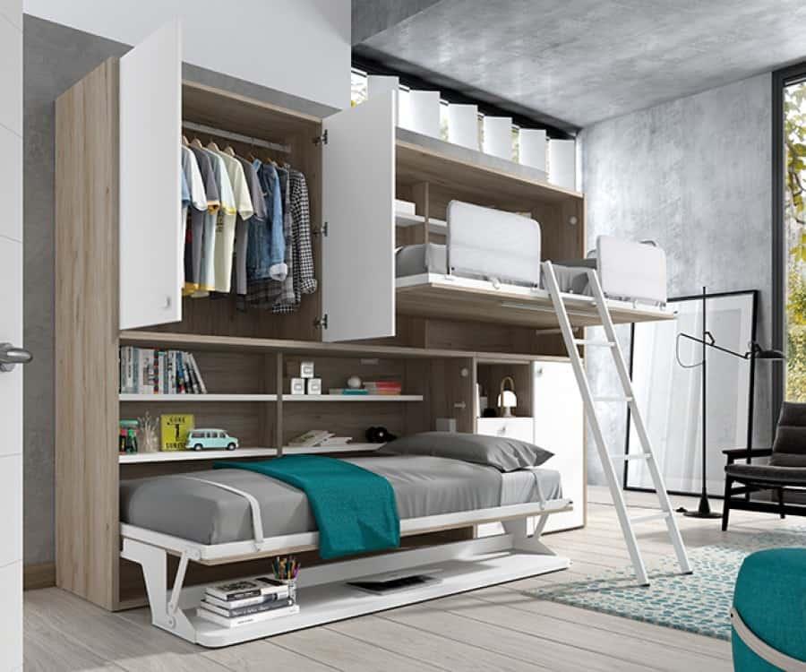 Habitación juvenil con dos camas abatibles abiertas en madera y blanco