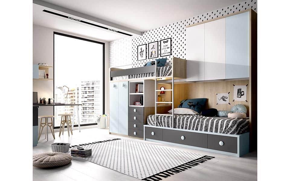 Habitación juvenil con literas en gris y azul