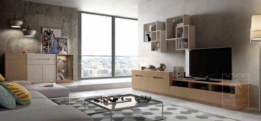 Mueble de salón con mesa baja cristal y estantería cuadros