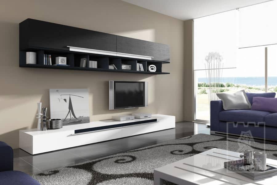 Mueble de salón y televisión blanco y negro