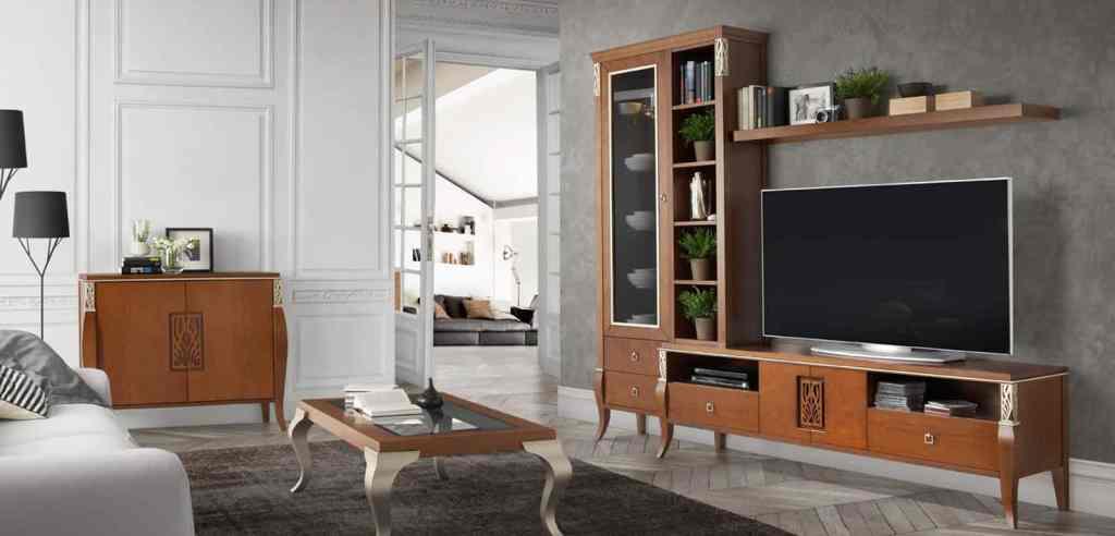 Muebles y mesita de salón, con estantería de tipo clásico