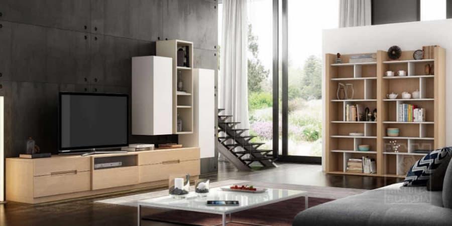 Mueble de salón con estantería en color madera