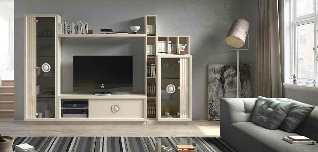 Mueble de salón con pequeña estantería superior