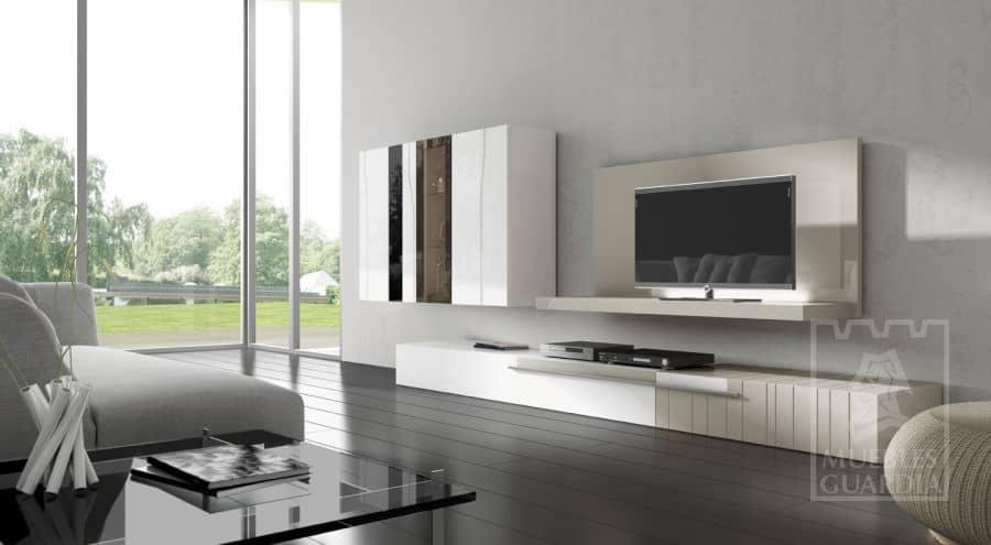 Mueble de salón blanco lacado