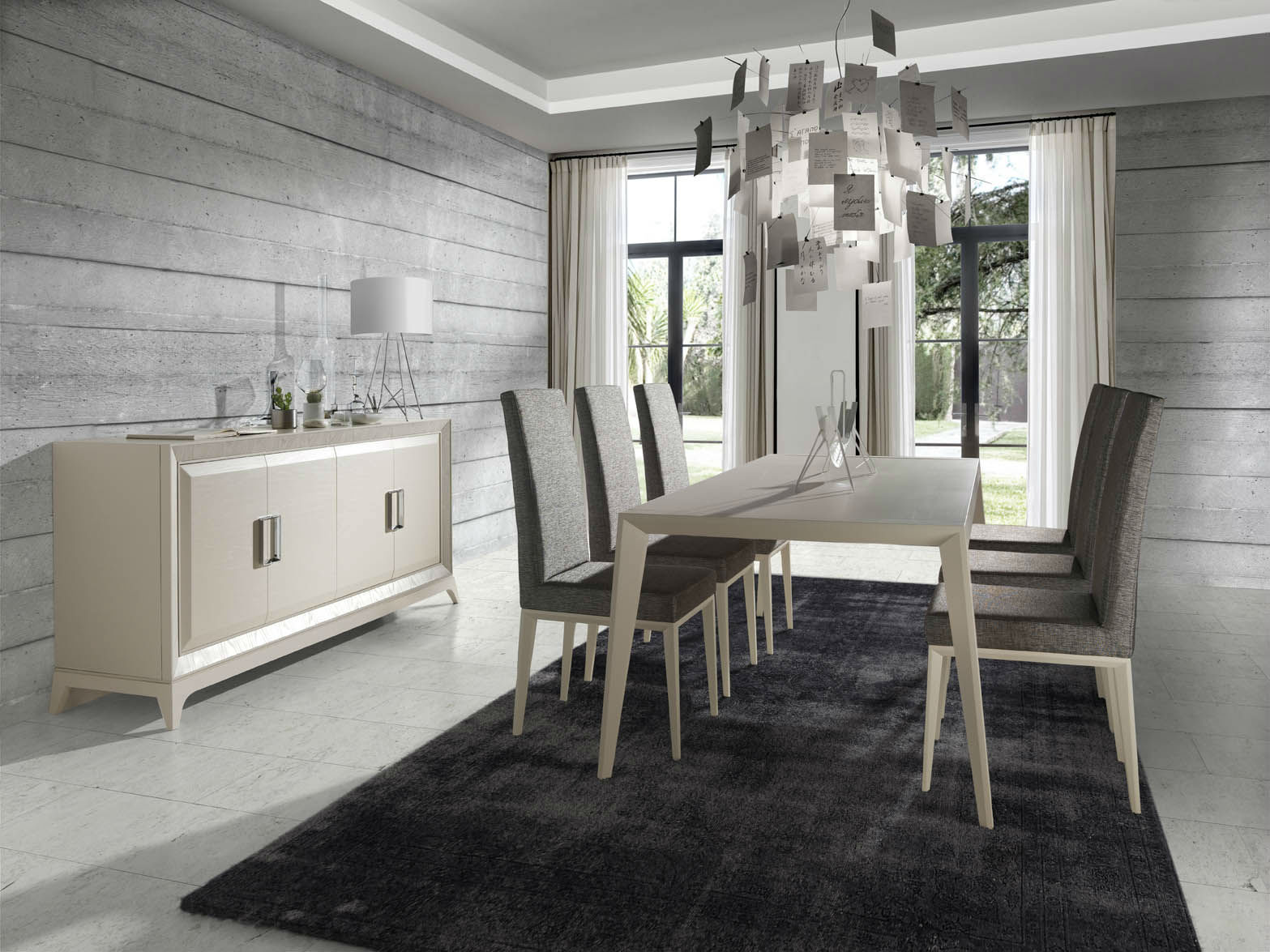 Comedor Blanco y Gris Moderno  Muebles Avalos