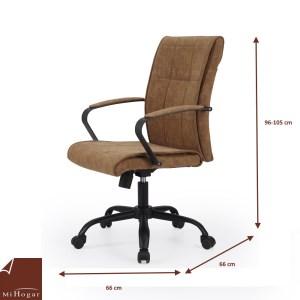 silla escritorio piel marrón medidas