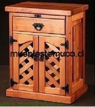 velador de madera con trillage