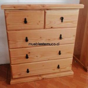 comoda de madera solida con 5 cajones