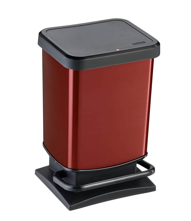 Rotho Mülleimer Paso rot metallic