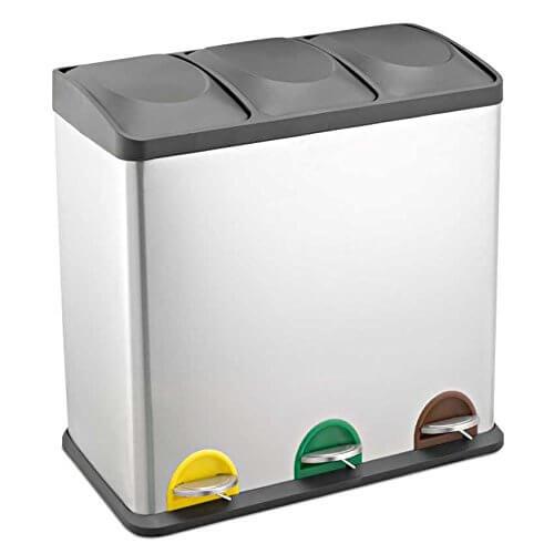 3-fach Mülleimer 60 Liter aus Edelstahl und Tretpedalen