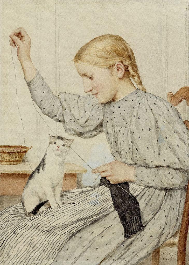 1549-Albert Anker 1831 - 1910 Realism Painting sitzendes-m-dchen-mit-einer-katze-1903