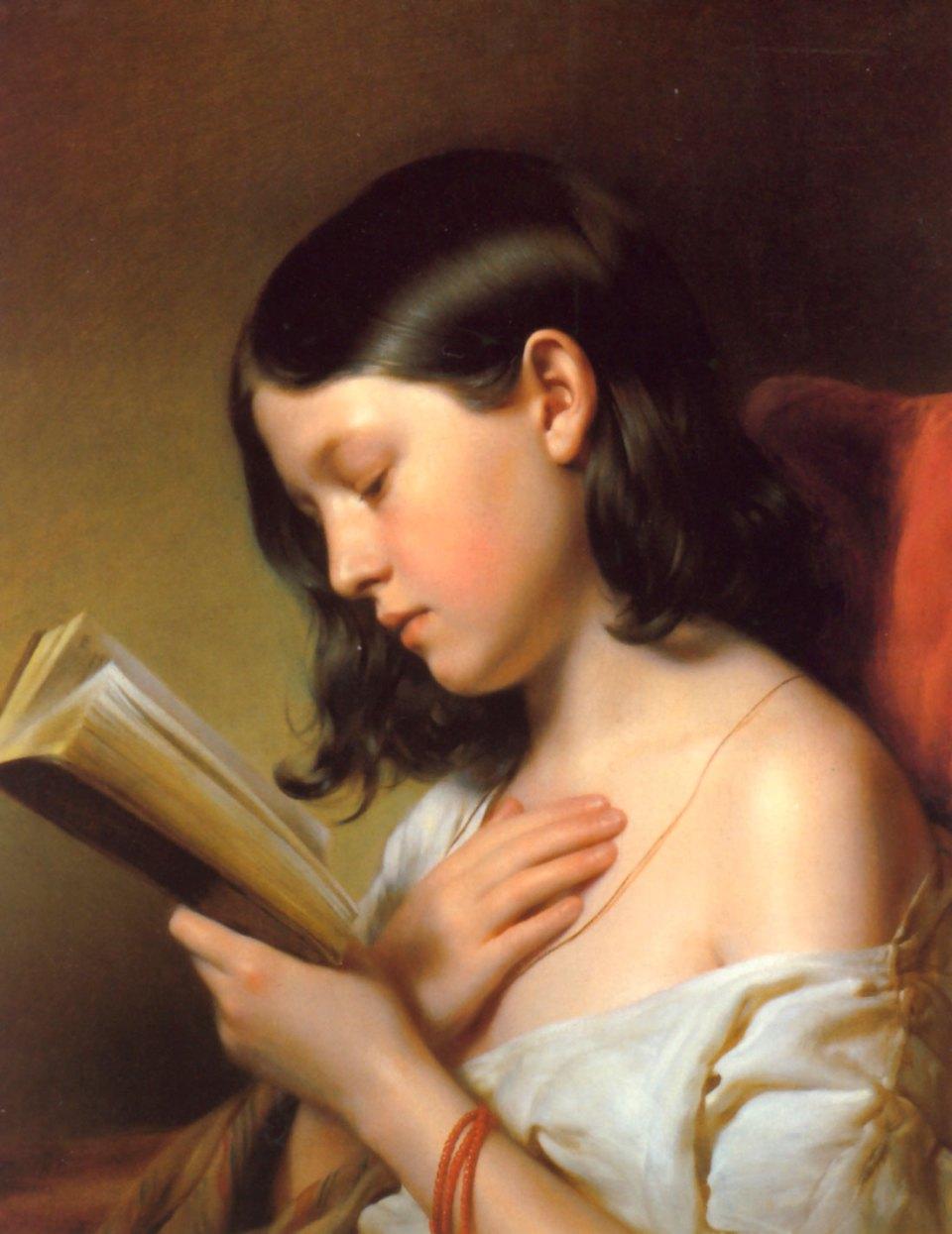 Franz Eybl: Lesendes Mädchen, 1850.