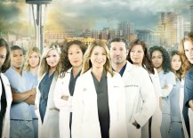 "GREY'S ANATOMY - ABC's ""Grey's Anatomy"" stars Kevin McKidd as Owen Hunt, Justin Chambers as Alex Karev, Chandra Wilson as Miranda Bailey, Gaius Charles as Shane Ross, Tessa Ferrer as Leah Murphy, Jessica Capshaw as Arizona Robbins, Sandra Oh as Cristina Yang, Ellen Pompeo as Meredith Grey, Patrick Dempsey as Derek Shepherd, Sara Ramirez as Callie Torres, Jerrika Hinton as Stephanie Edwards, Camilla Luddington as Jo Wilson, Sarah Drew as April Kepner, Jesse Williams as Jackson Avery and James Pickens, Jr. as Richard Webber. (Photo by Bob D'Amico/ABC via Getty Images)"