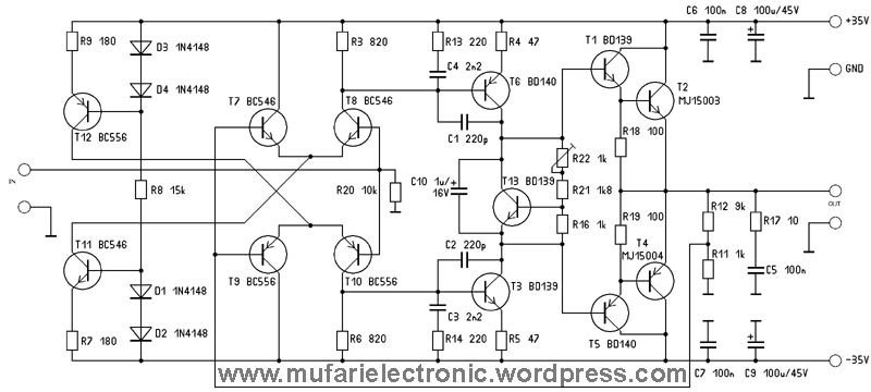 schematic power amplifier with ic an7117