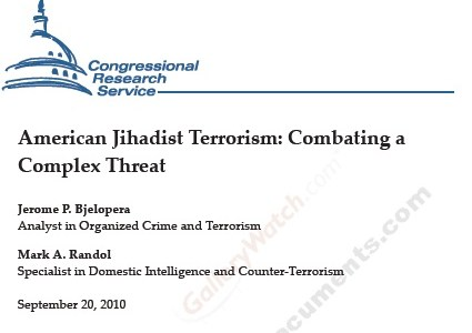 CRS Report on Homegrown Terrorism Updated