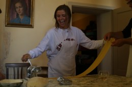 Abby Kintz making pasta at Spannocchia