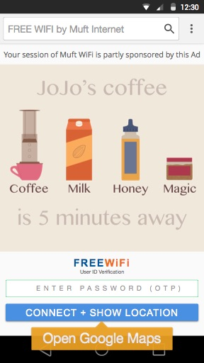 Example: Free WiFi Advertising at Cafes in India
