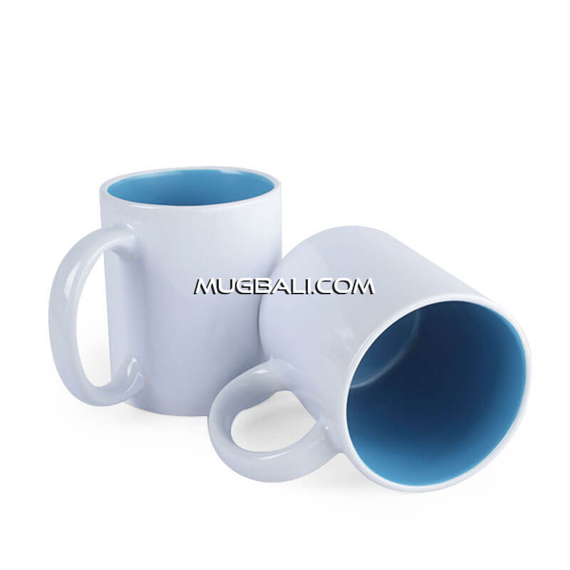 cetak mug keramik putih dalam Biru Laut denpasara bali
