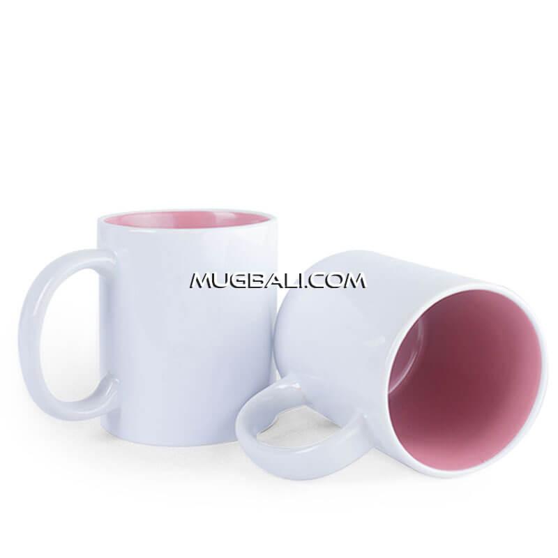 cetak mug keramik warna putih dalam Pink