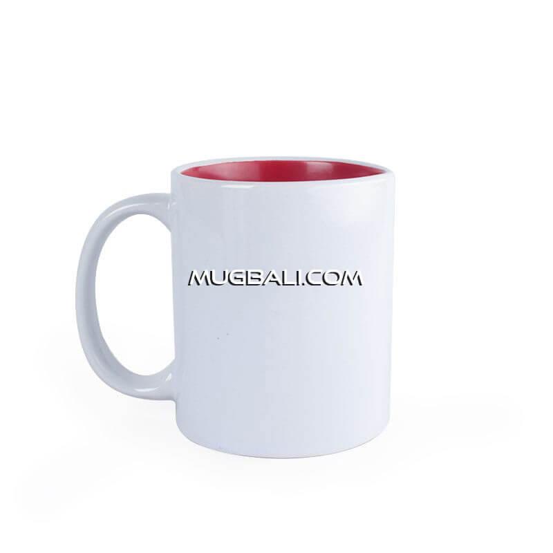 mugbali supplier cetak mug keramik putih dalam Merah untuk promosi Denpasar Bali