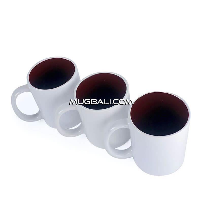 mugbali supplier cetak mug keramik putih dalam Merah untuk promosi dan souvenir Denpasar Bali