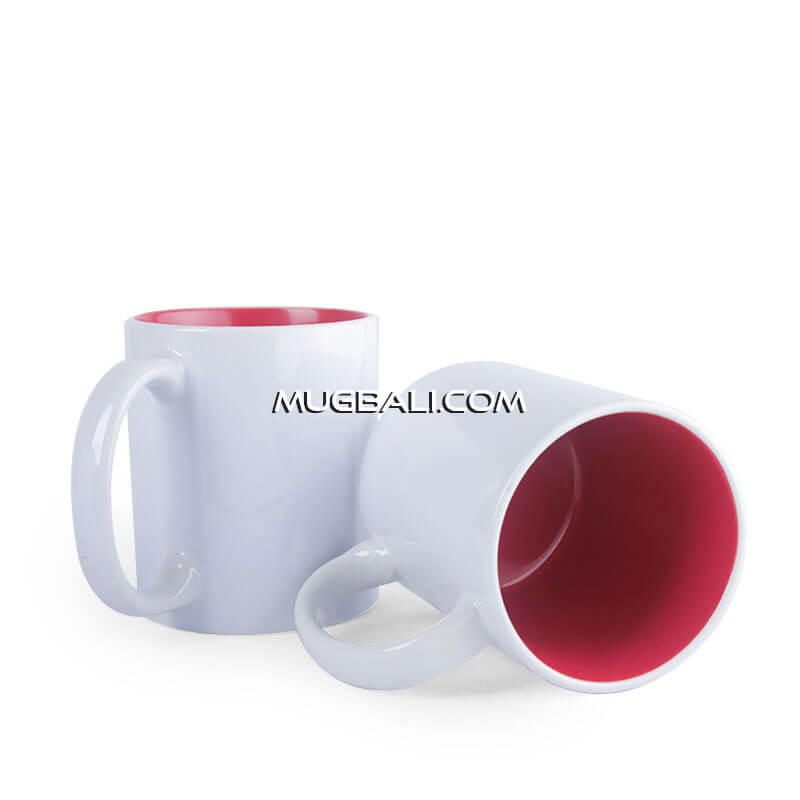 mugbali supplier mug keramik putih dalam Merah untuk promosi Denpasar
