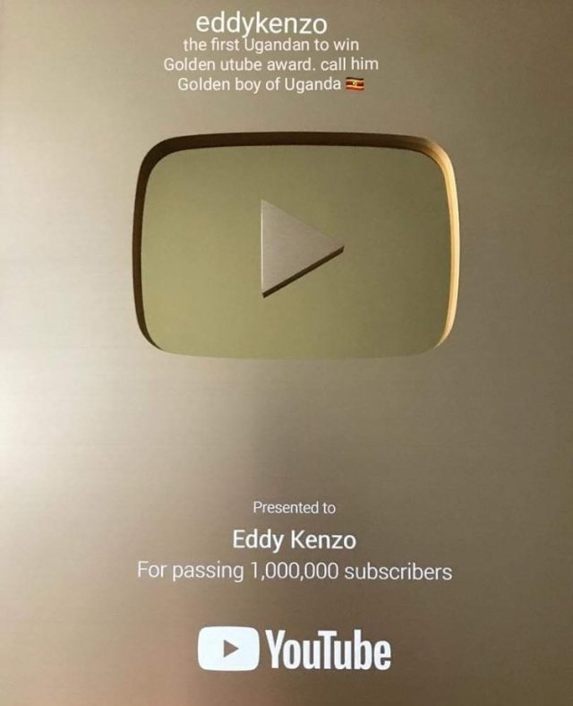 Eddy Kenzo breaks record as he becomes the first Ugandan to receive the YouTube Gold Creator Award. 5 MUGIBSON WRITES