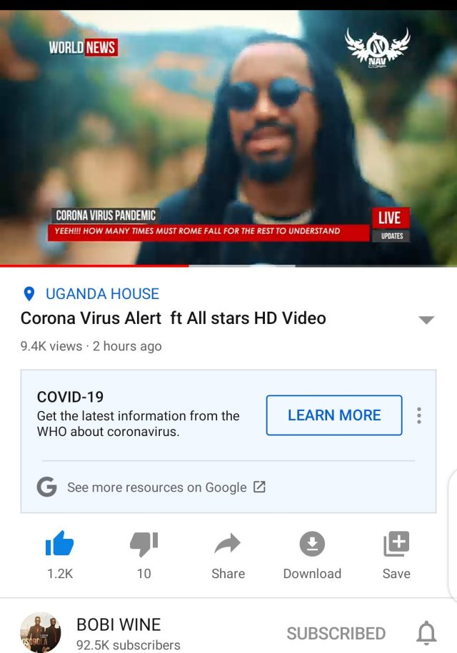 Bobi Wine remakes 'Corona Virus Alert'. Features Navio, Coco Finger, Nina Roz, Karole Kasita, Young Mulo and more: 5 MUGIBSON WRITES