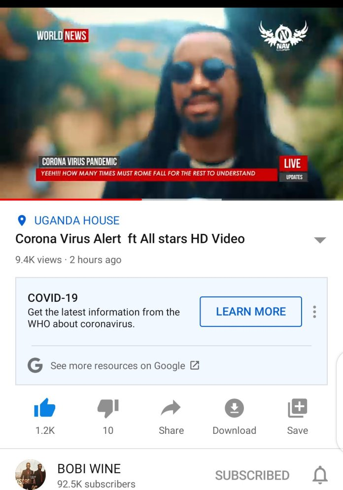 Bobi Wine remakes 'Corona Virus Alert'. Features Navio, Coco Finger, Nina Roz, Karole Kasita, Young Mulo and more: 4 MUGIBSON WRITES