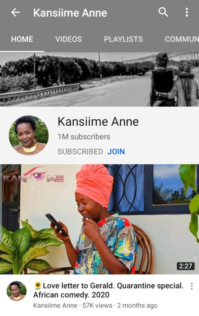 Ugandan comedy queen Ann Kansiime Hits the 1 Million Subscriber count on YouTube: 2 MUGIBSON WRITES