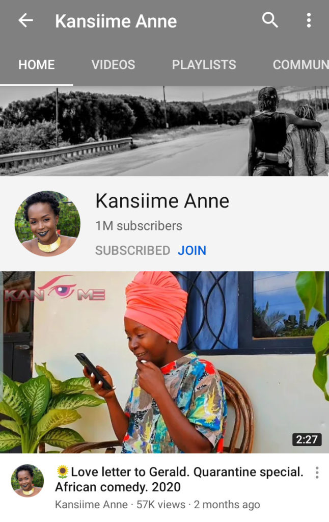 Ugandan comedy queen Ann Kansiime Hits the 1 Million Subscriber count on YouTube: 1 MUGIBSON WRITES