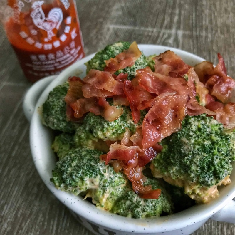 bacon sriracha broccoli