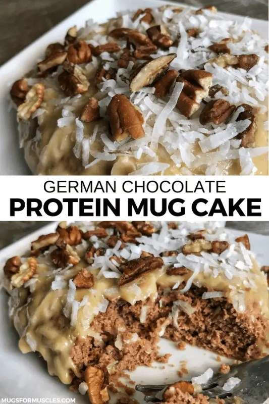 This German chocolate mug cake packs 30 grams of protein into a single cake with optional frosting and toppings that take the protein to 43 grams per cake.