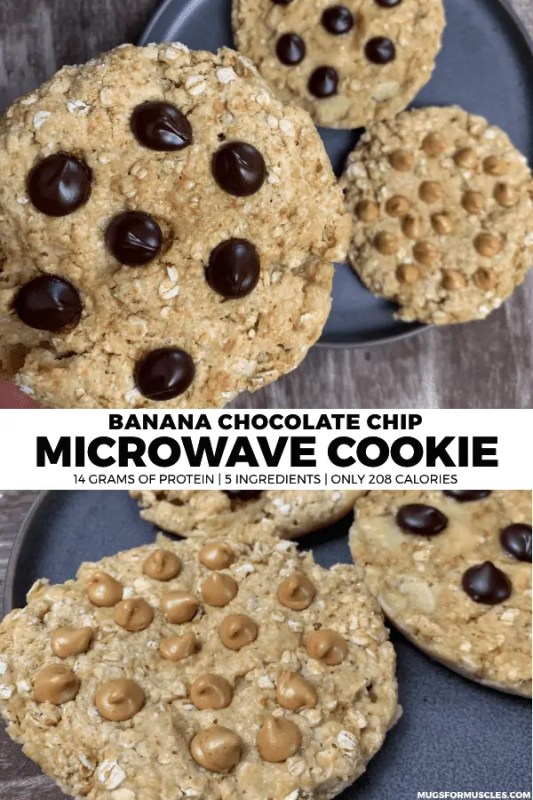 A banana chocolate chip microwave cookie recipe with 14 grams of protein, 208 calories, 5 ingredients, and a 3-minute prep time.
