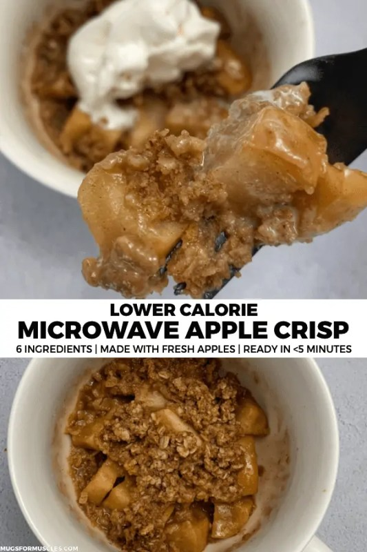 A 146-calorie microwave apple crisp recipe that transform a fresh apple into a deliciously sweet treat in about five minutes.