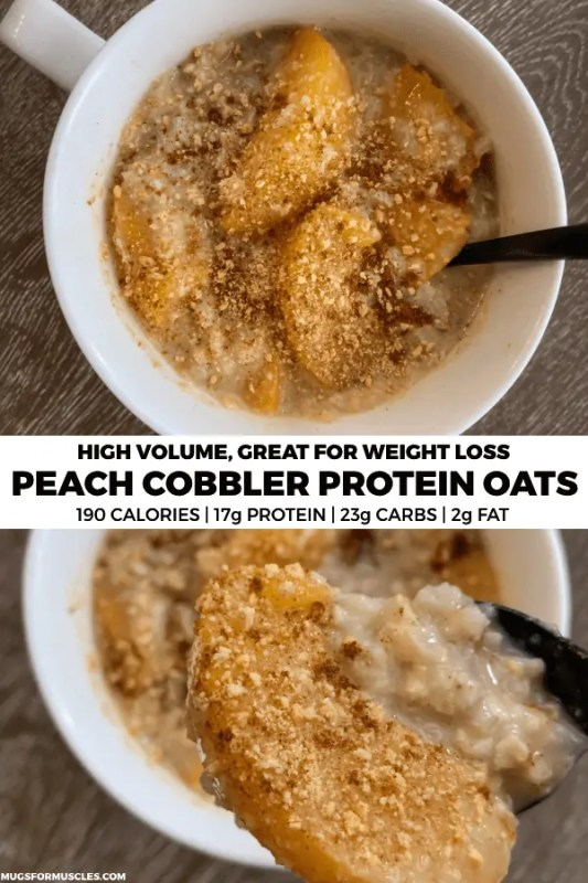 A delicious bowl of peach cobbler protein oatmeal with added volume via cauliflower rice to keep you full for hours. If you need breakfast in a hurry, these proats are the ticket.