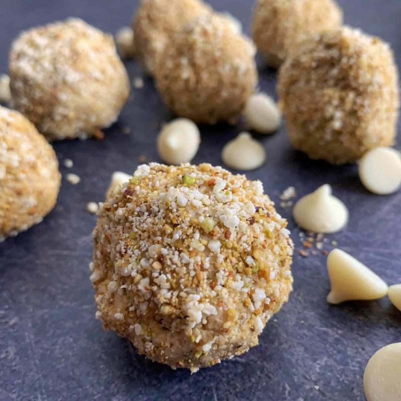 white chocolate pistachio no bake protein bites recipe