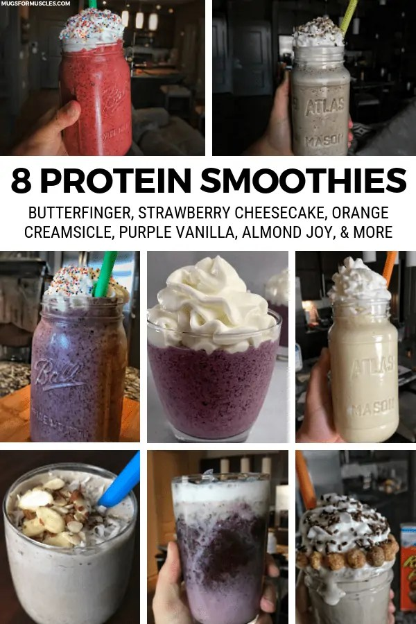 8 protein smoothie recipes that are loaded with flavor, fruits and veggies, and all kinds of other good stuff. Every recipe contains simple ingredients that you likely already have on hand.