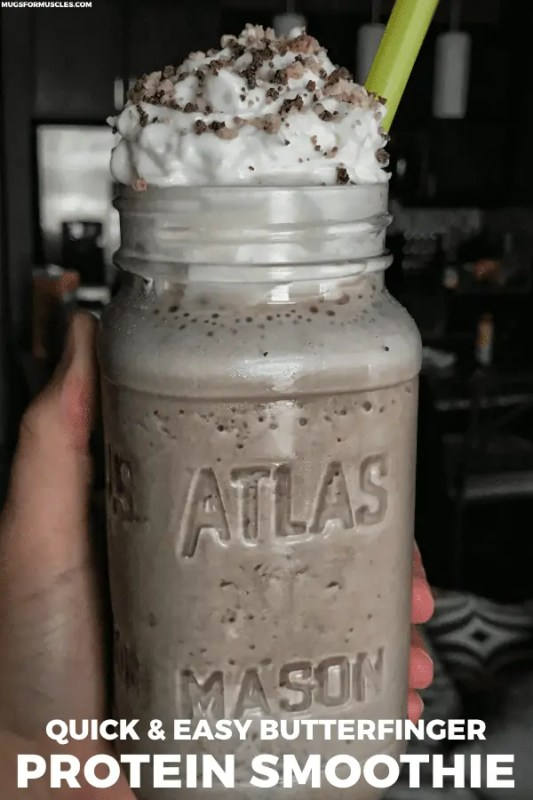 You're going to love this Butterfinger smoothie and 7 more protein smoothie recipes that are loaded with flavor, fruits and veggies, and all kinds of other good stuff. Every recipe contains simple ingredients that you likely already have on hand.
