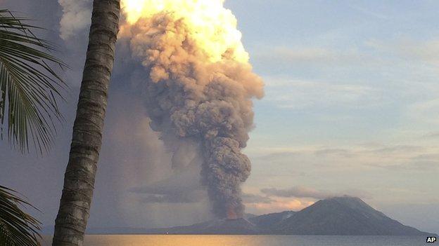 Volcano erupting in Papua New Guinea