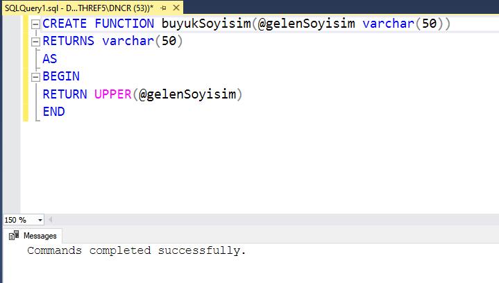 veritabanı fonksiyon oluşturma örneği ekran görüntüsü