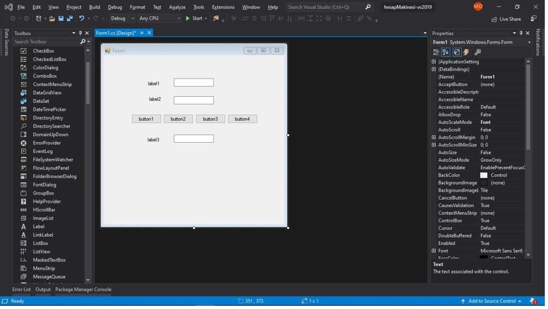 c# hesap makinesi form ekranı