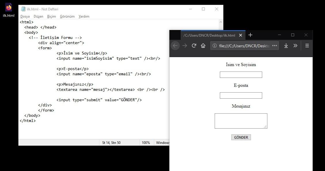 iletişim formu html5